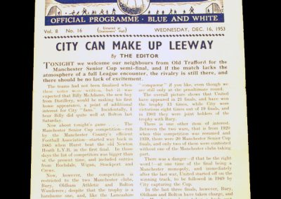 Manchester City v Manchester United 16.12.1953 | Manchester Cup Semi