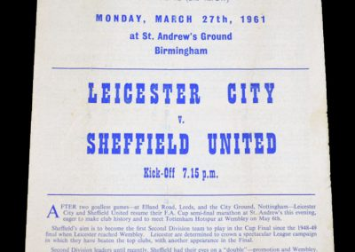 Sheffield United v Leicester City 27.03.1961   FA Cup Semi Final Replay 2