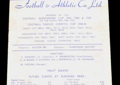Bolton Wanderers v Leeds United 12.01.1957