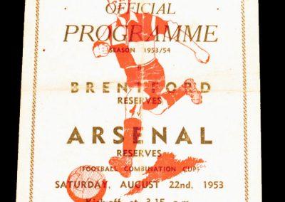 Brentford Reserves v Arsenal Reserves 22.08.1953