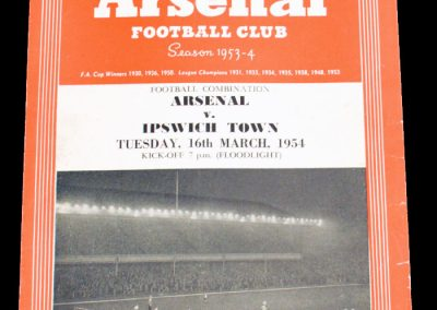 Ipswich Town v Arsenal 16.03.1954