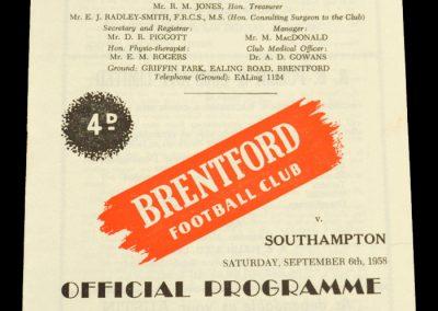 Southampton v Brentford FC 06.09.1958