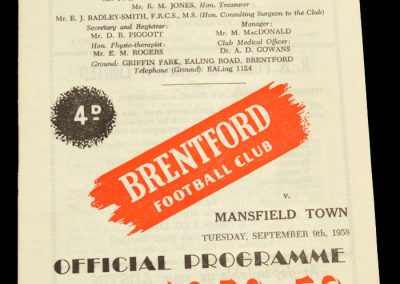 Mansfield Town v Brentford FC 09.09.1958