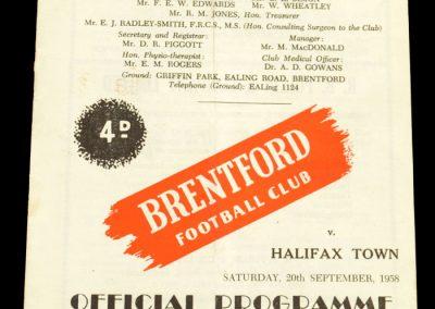 Halifax Town v Brentford FC 20.09.1958