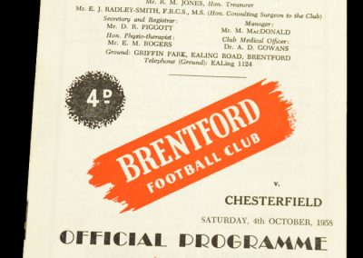 Chesterfield v Brentford FC 04.10.1958
