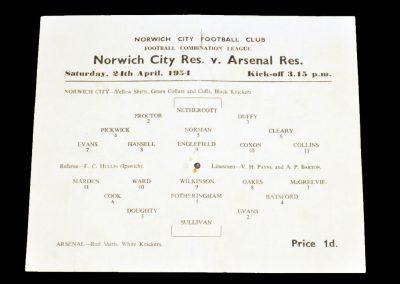Norwich City Reserves v Arsenal Reserves 24.04.1954