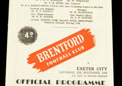 Exeter City v Brentford FC 15.11.1958   FA Cup 1st Round