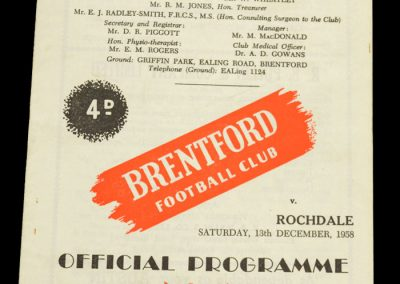 Rochdale v Brentford FC 13.12.1958