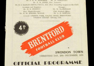 Swindon Town v Brentford FC 25.12.1958