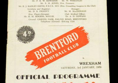 Wrexham v Brentford FC 03.01.1959