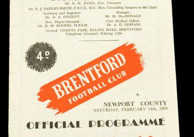 Newport County v Brentford FC 14.02.1959