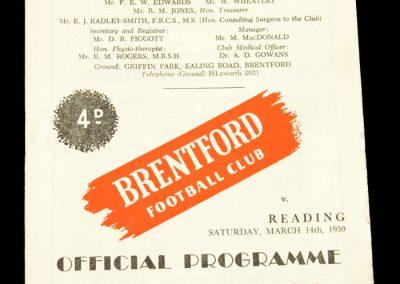 Reading v Brentford FC 14.03.1959