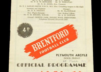 Plymouth Argyle v Brentford FC 27.03.1959