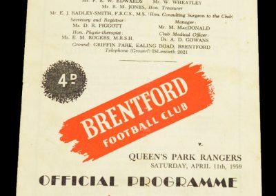 Queens Park Rangers v Brentford FC 11.04.1959