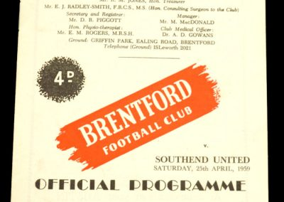 Southend United v Brentford FC 25.04.1959