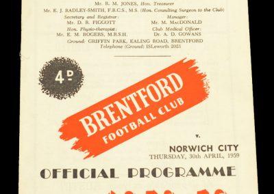 Norwich City v Brentford FC 30.04.1959