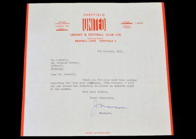 Sheffield United Letter 07.10.1955