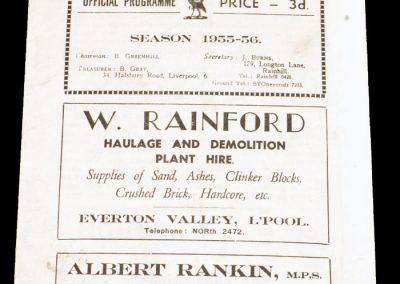Liverpool City v Workington 22.10.1955   Rugby League
