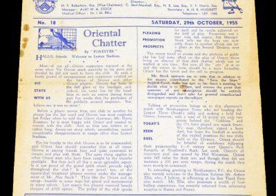 Leyton Orient FC v Northampton Town 29.10.1955