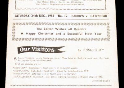 Barrow FC v Gateshead 24.12.1955