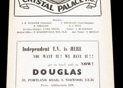 Crystal Palace FC v Swindon 27.12.1955