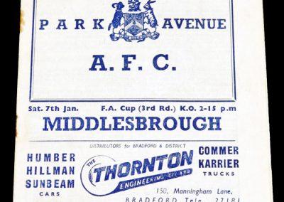Bradford AFC v Middlesbrough 07.01.1956   FA Cup 3rd Round