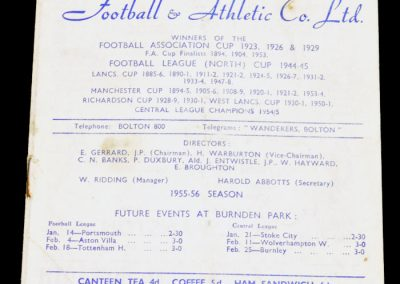 Bolton Wanderers v Huddersfield Town 07.01.1956   FA Cup 3rd Round