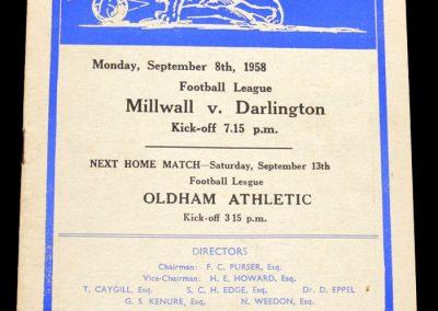 Darlington v Millwall 08.09.1958