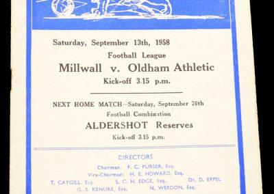 Oldham Athletic v Millwall 13.09.1958