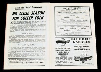 Middlesbrough v Newcastle United 22.08.1962