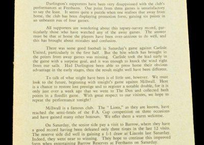 Darlington v Millwall 18.09.1958