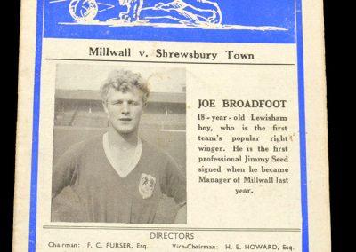 Shrewsbury Town v Millwall 22.09.1958