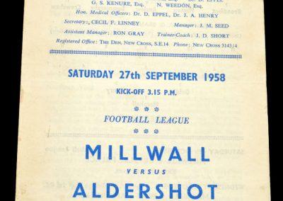 Aldershot v Millwall 27.09.1958 | Fire at Printers