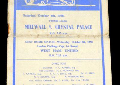 Crystal Palace v Millwall 04.10.1958