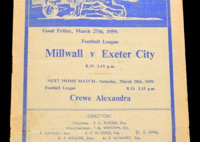 Exeter City v Millwall 27.03.1959