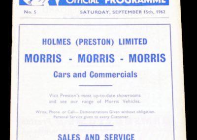 Preston North End v Middlesbrough 15.09.1962