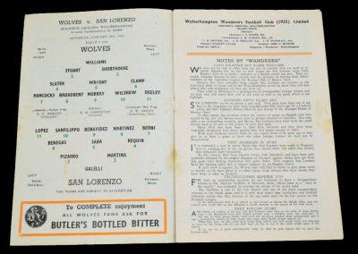 Wolverhampton Wanderers v San Lorenzo 28.01.1956   Friendly