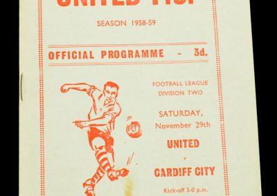 Scunthorpe United FC v Cardiff City 29.11.1958