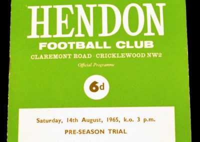 Hendon v Wimbeldon 14.08.1965