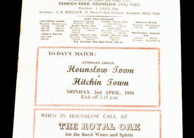 Hounslow Town v Hitchin Town 02.04.1956