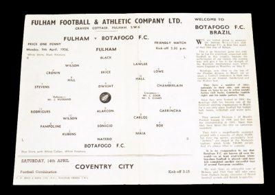Fulham v Botofogo 09.04.1956