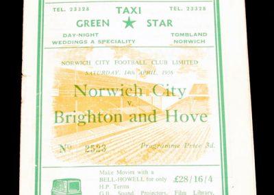 Norwich City v Brighton and Hove 14.04.1956