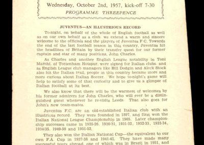 Juventus FC v Leeds United 02.10.1957