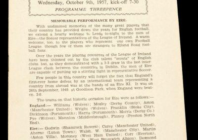 Football League v Irish League 09.10.1957