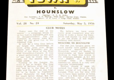 Hitchin Town FC v Hounslow 05.05.1956