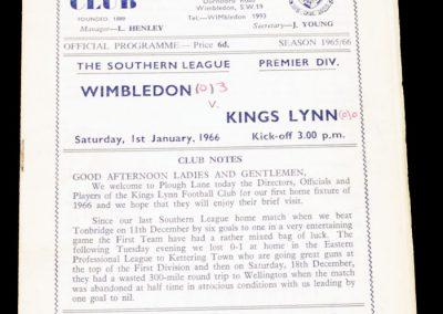 Wimbeldon v Kings Lynn 01.01.1966