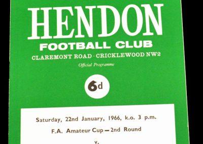 Hendon FC v Carshalton Atheltic 22.01.1966 | FA Amateur Cup 2nd Round