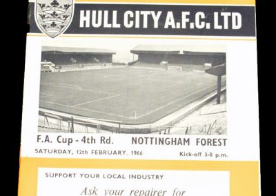 Hull City AFC v Nottingham Forest 12.02.1966 | FA Cup 4th Round