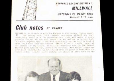 Queens Park Rangers v Millwall 26.03.1966