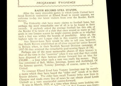 Raith Rovers v Leeds United 01.03.1958